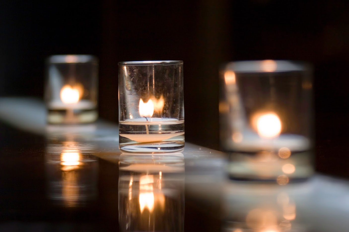 Three votive candles in Los Angeles, CA