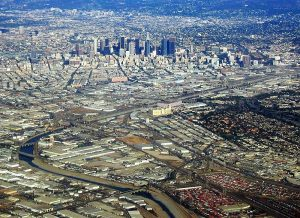 An aerial view of downtown Los Angeles where the Law Offices of Jerod Gunsberg is located in Los Angeles, CA
